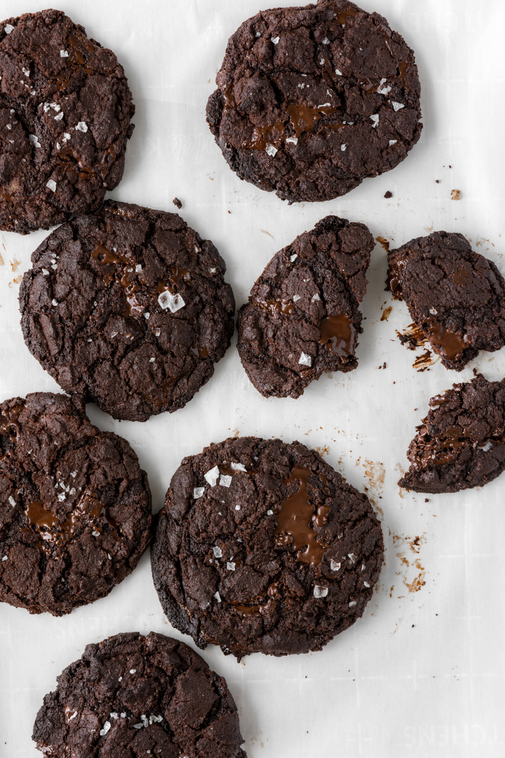 salted double dark chocolate cookies