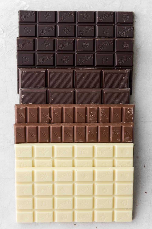 dark, milk and white chocolates