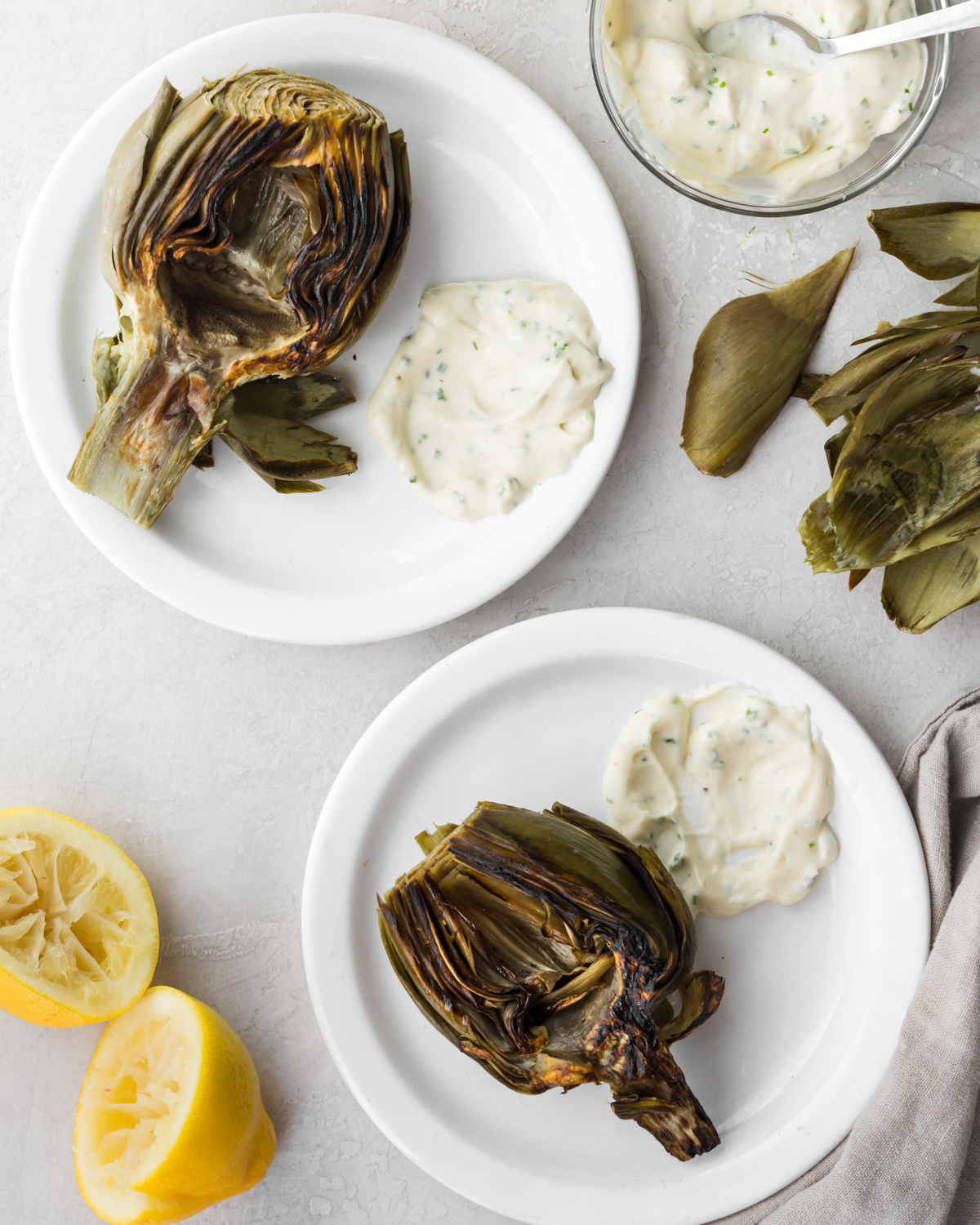 roasted artichokes with creamy chive dipping sauce