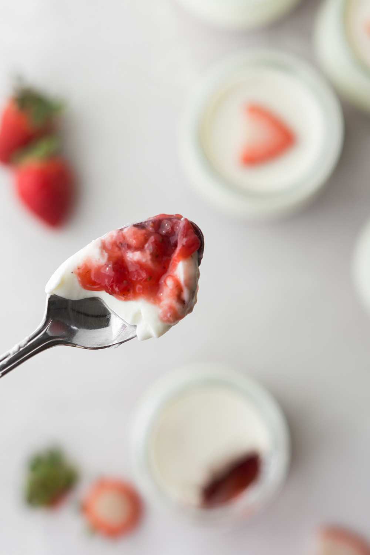 sour cream panna cotta with black pepper strawberry jam