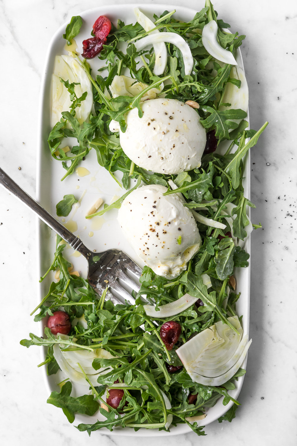 summer salad with arugula, pickled cherries, burrata and fennel - with spice seasonal food blog