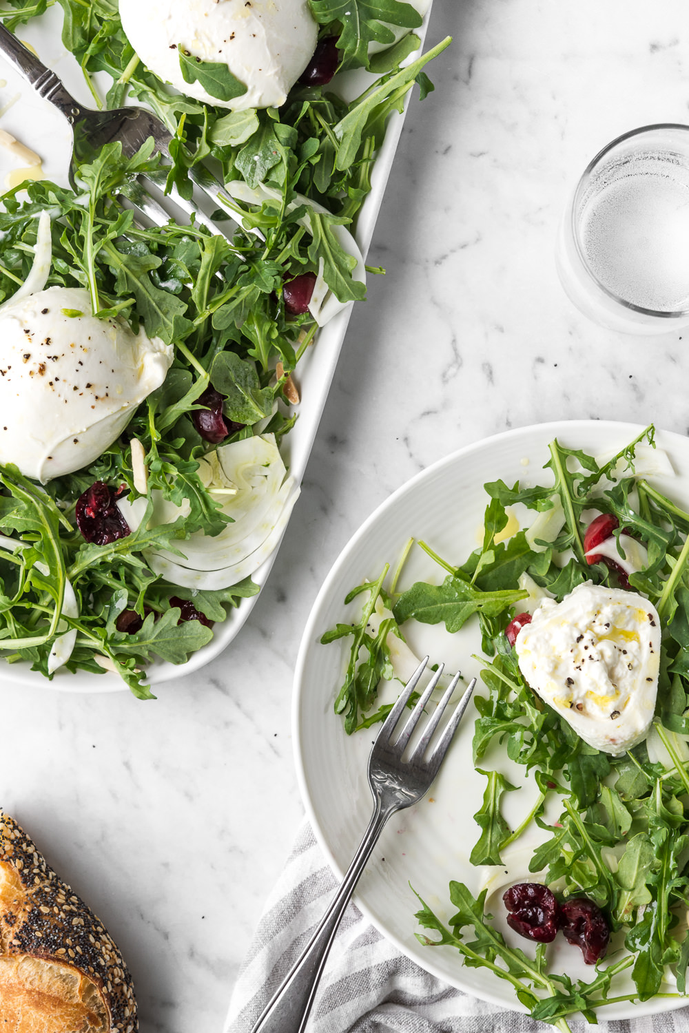 arugula summer salad with pickled cherries, burrata and fennel - with spice food blog