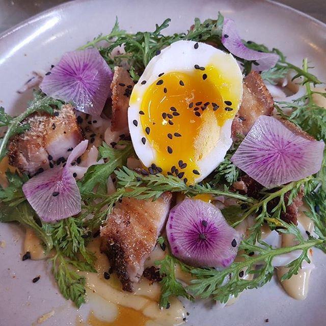 pork belly w purple daikon + shungiku leaf + prawn floss + duck egg + poached squid