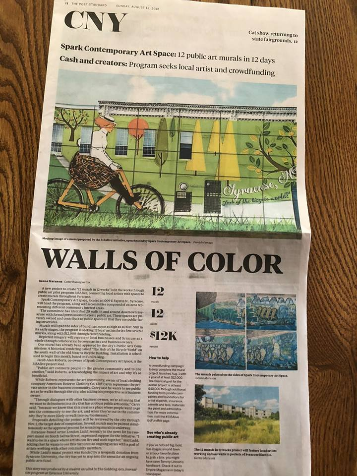 Article on 315Alive by Geena Matuson on front page of CNY Arts in The Post Standard in August, 2018.