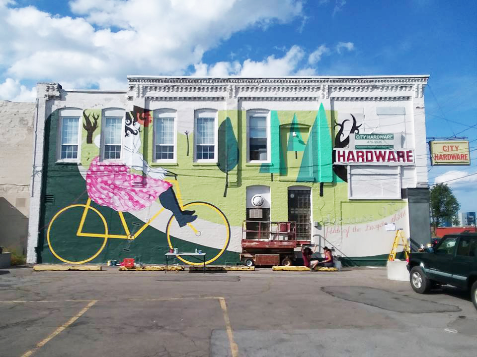 The first completed mural in the 315Alive pilot program on Geddes Street in Syracuse NY.