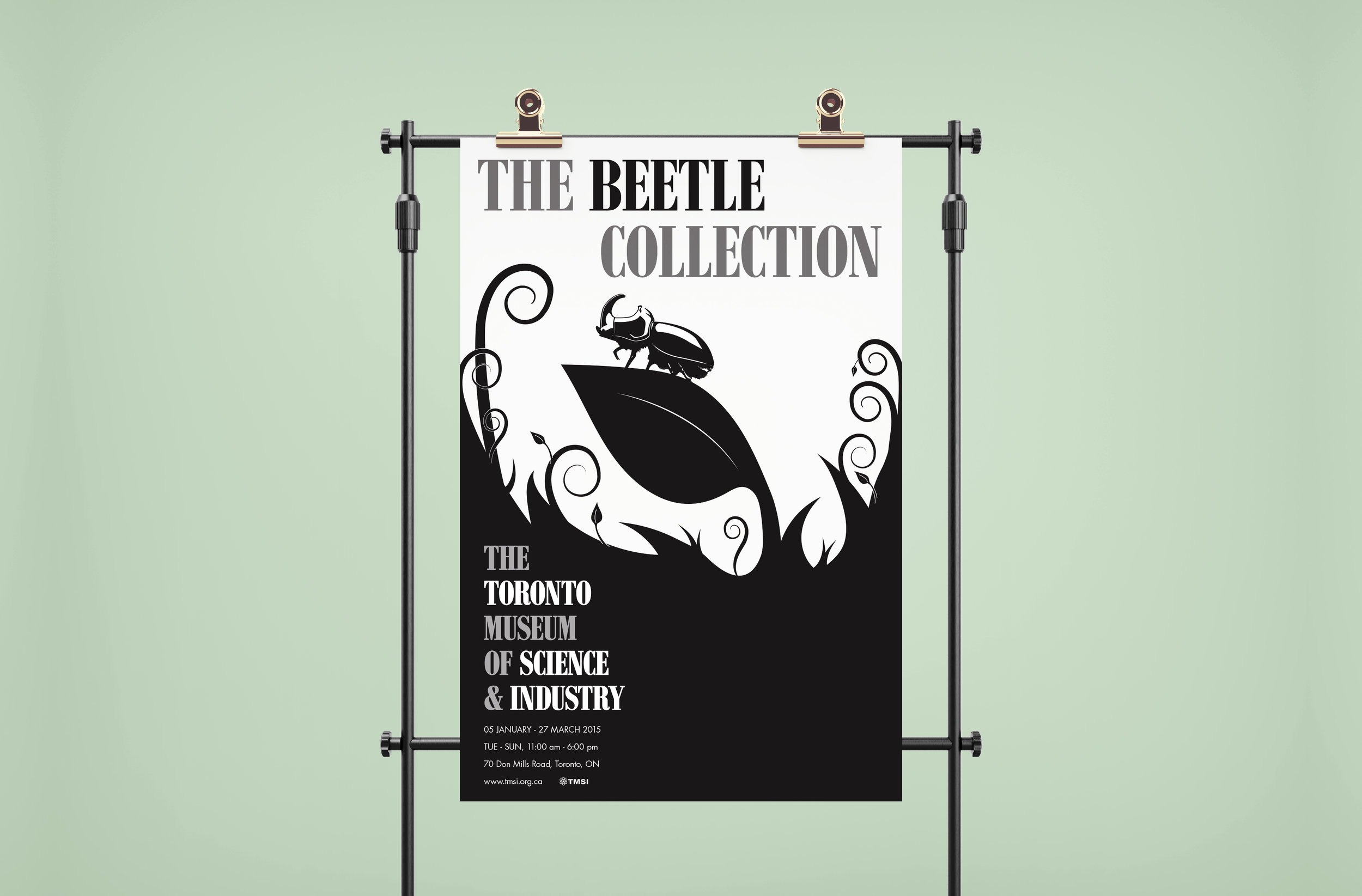 "The Beetle Collection - The Beetle Collection is a fictitious project for a museum exhibition educating the viewer about a variety of beetles. The project consisted the design of a poster, 6 page (double-sided) pamphlet and a 3 x 3"" box."