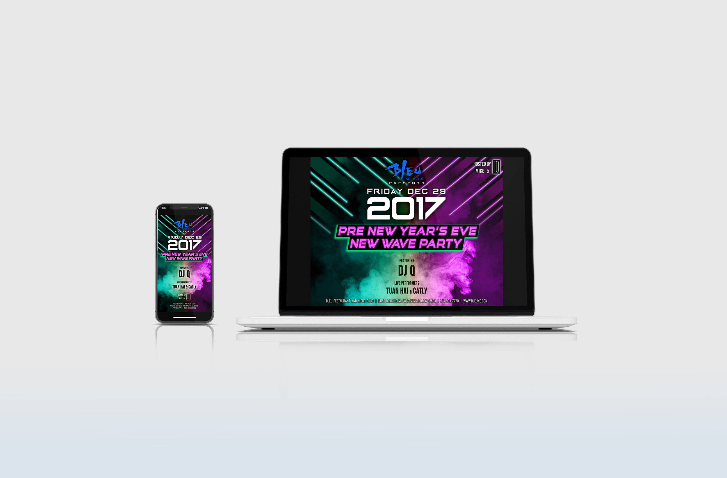 Pre New Year's Party Promotion - Party promotion designed for computer screen, mobile screen, large projection and event tickets.