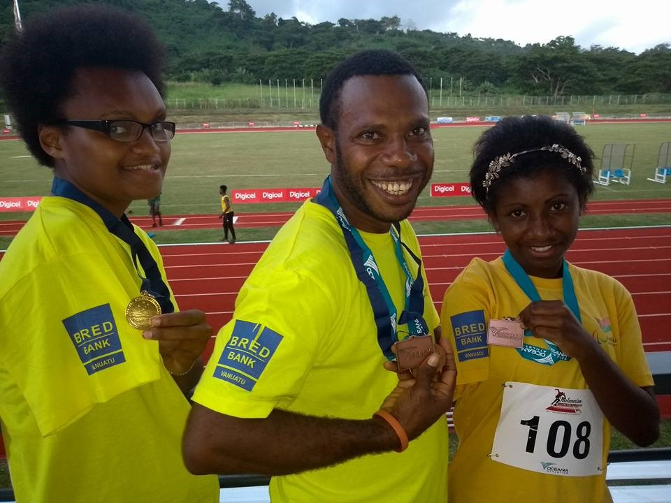 Gleaming Medals, Gleaming Smiles  - The recent Melanesian Athletics Championships held from Wednesday 9th May to Friday 11th May, coordinated by the Oceania and the Vanuatu Athletics Federations, were a resounding success for Vanuatu's team of 9 parathletes. The lineup of gleaming medals (1 Gold, 2 Silver and 4 Bronze medals) and gleaming smiles only tell part of the story...