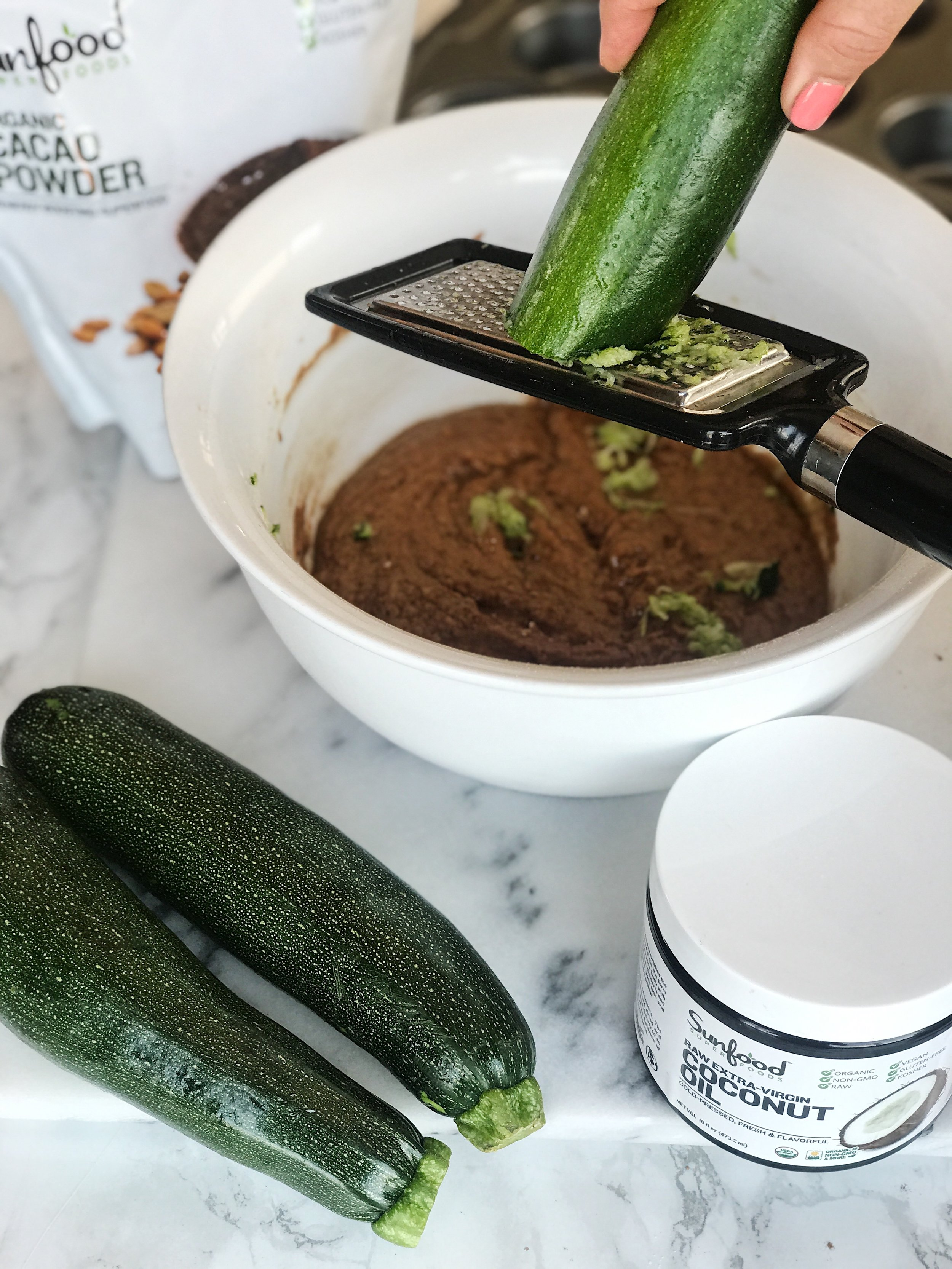 - You will then want to add your grated zucchini.