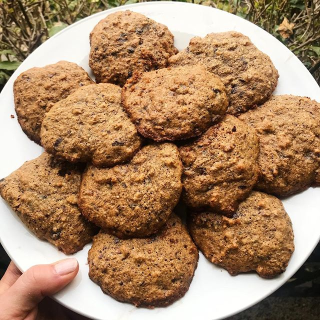We conquered Monday, you deserve a cookie (or ✌🏼)! Nutty 🍫 Flax Cookies 🍪 My brothers girlfriend made these bomb cookies and gave me permission to share the recipe. See dEATS below: ⠀⠀⠀⠀⠀⠀⠀⠀⠀⠀⠀⠀ INGREDIENTS: 1 cup almond flour 1/2 cup flax meal  1 tsp. Baking soda  1/2 tsp. Sea Salt  2 Egg 2 tsp. Vanilla Extract  1/3 cup Coconut Sugar  1/3 cup Ghee, melted/cooled  1/2 cup chopped pecans 1/2 cup Dark 🍫 Chips 1/2 cup 🥥 flakes ⠀⠀⠀⠀⠀⠀⠀⠀⠀⠀⠀⠀ DIRECTION: Preheat 350F. Mix dry ingredients in one bowl, mix wet ingredients in another bowl. Fold wet ingredients into dry ingredients. Bake for 12 minutes or until golden. Enjoy! #beyoubewholesome #mealsbylauren #paleocookies Recipe by @erikacito @blackpointcompany