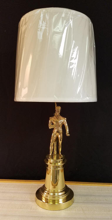 """Napoleon Bonaparte Lamp    This lamp is for the History buff... the French Military History Buff! This lamp is a fully restored vintage, perhaps even antique figurine of Napoleon.    It has been professionally Polished & Lacquered. It appears to be a combination of Brass and Bronze. It stands 26-1/2"""" tall, including the lampshade.    $395.00, plus shipping"""