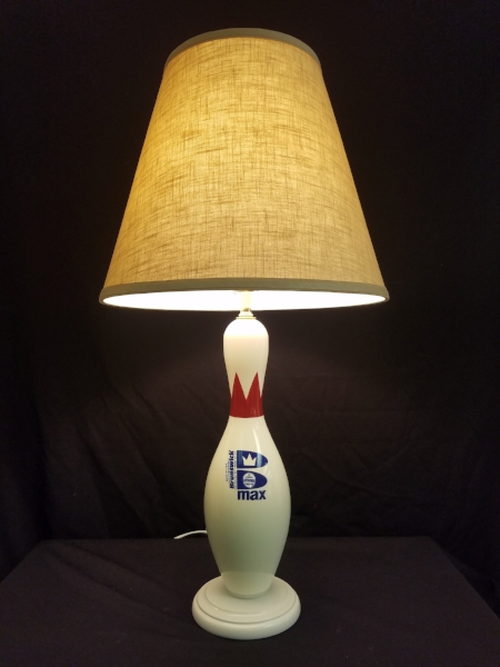 """Bowling Pin Lamp    This lamp is made from an authentic Brunswick Bowling Pin    This lamp stands 29"""" tall to the top of the custom Linen lampshade.    $185.00, plus shipping"""