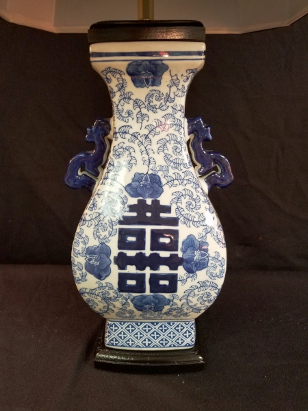 Close-up view of the Rectangular Blue & White Porcelain Lamp