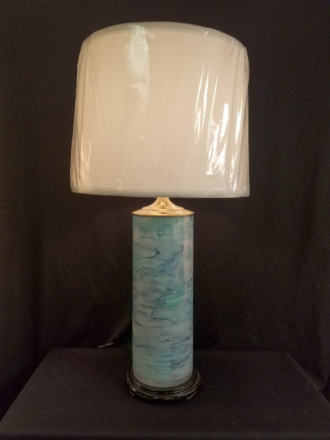 """Italian Glass Vase Lamp    This cylindrical Vase is a good example of new glass being made in Italy. It stands 31"""" tall to the top of the Modern custom Linen lampshade.    $195.00, plus shipping"""