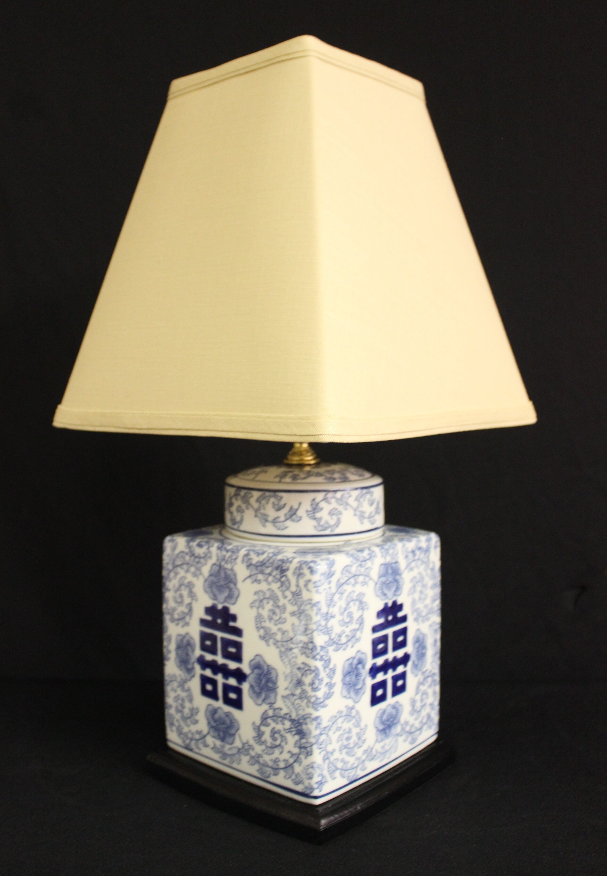 Square Blue & White Cannister Lamp. Shown with Lampshade option: #600 Beige Linen