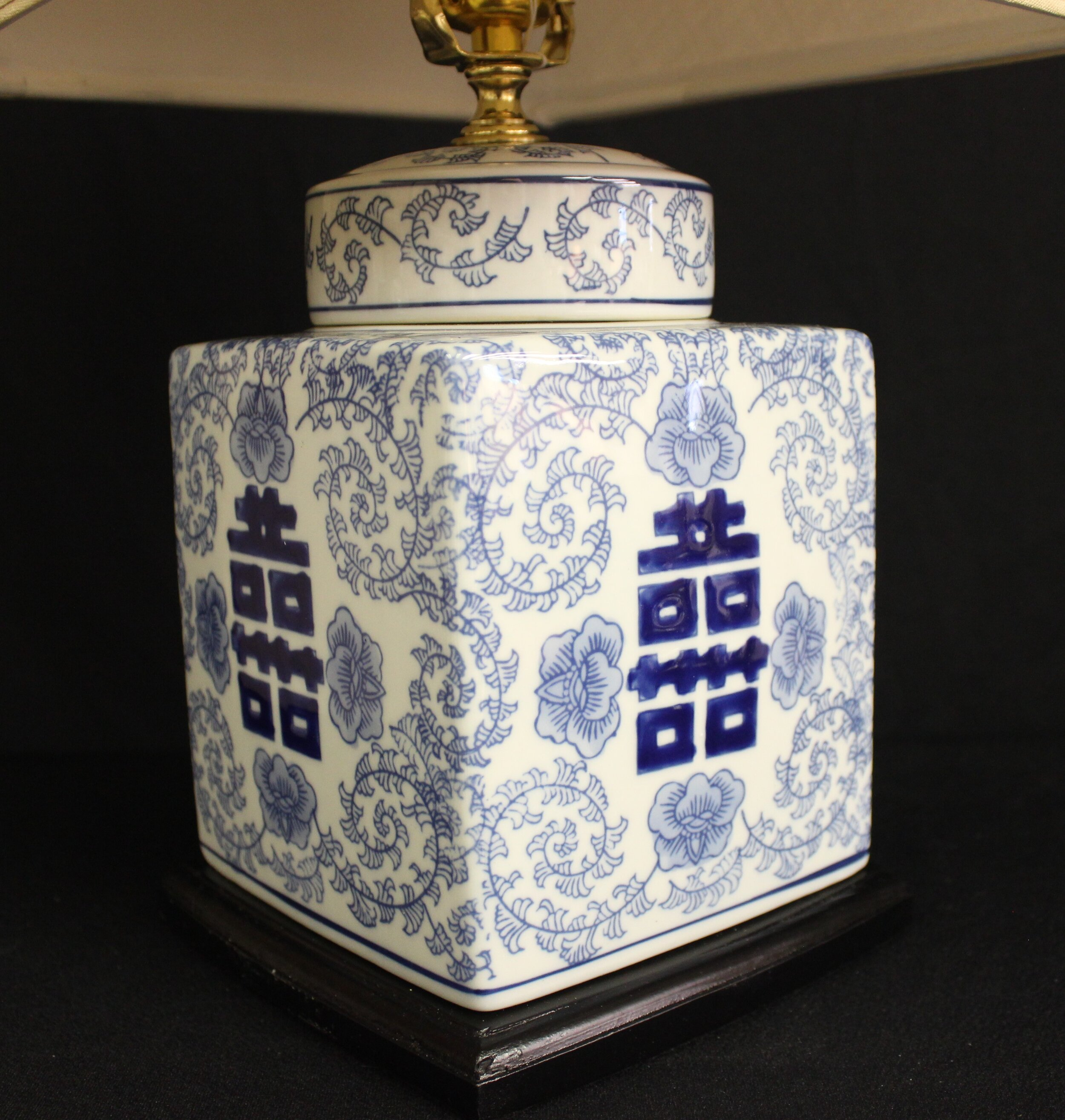 Square Blue & White Cannister Lamp - Close-up view.