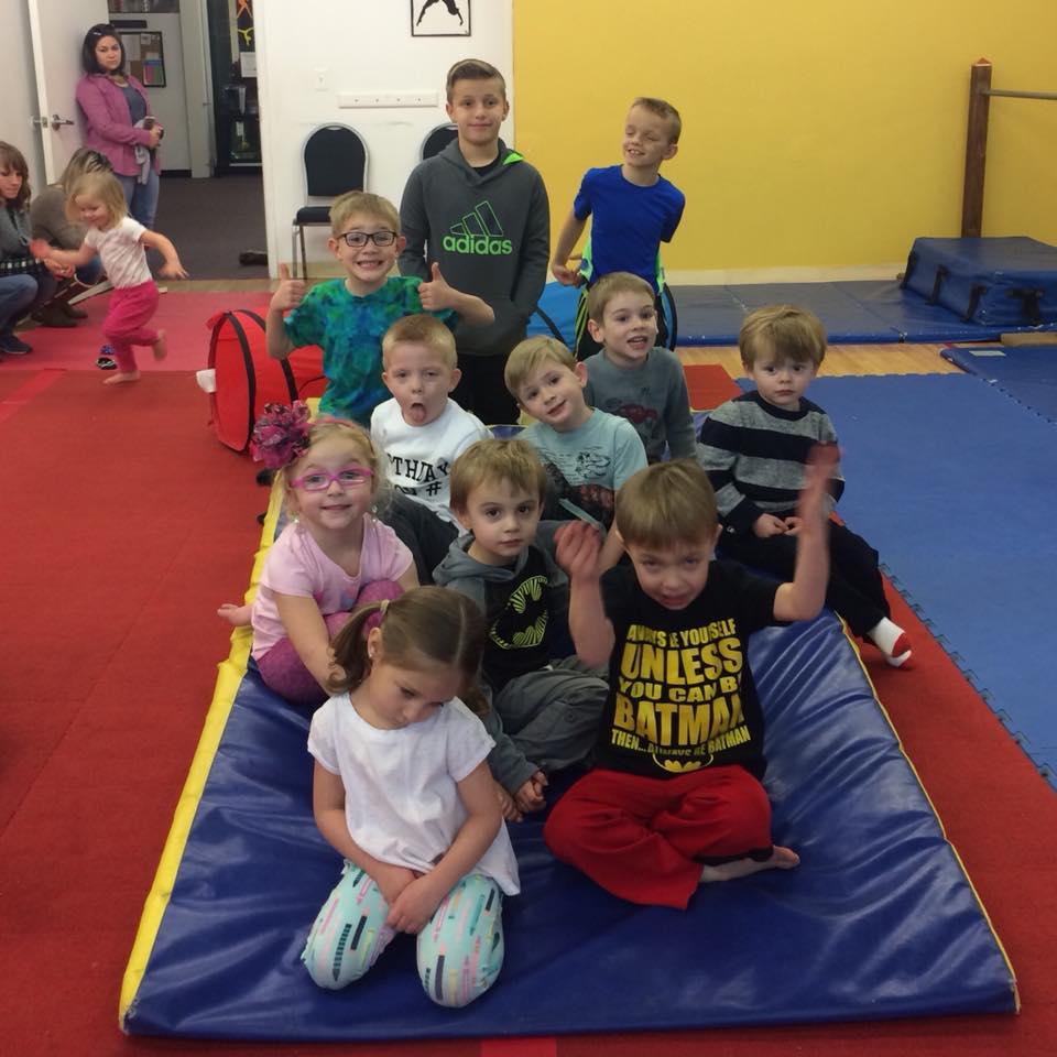 Tumbling and Gymnastics Birthday Party at MFA Studios in Locust Grove, VA.