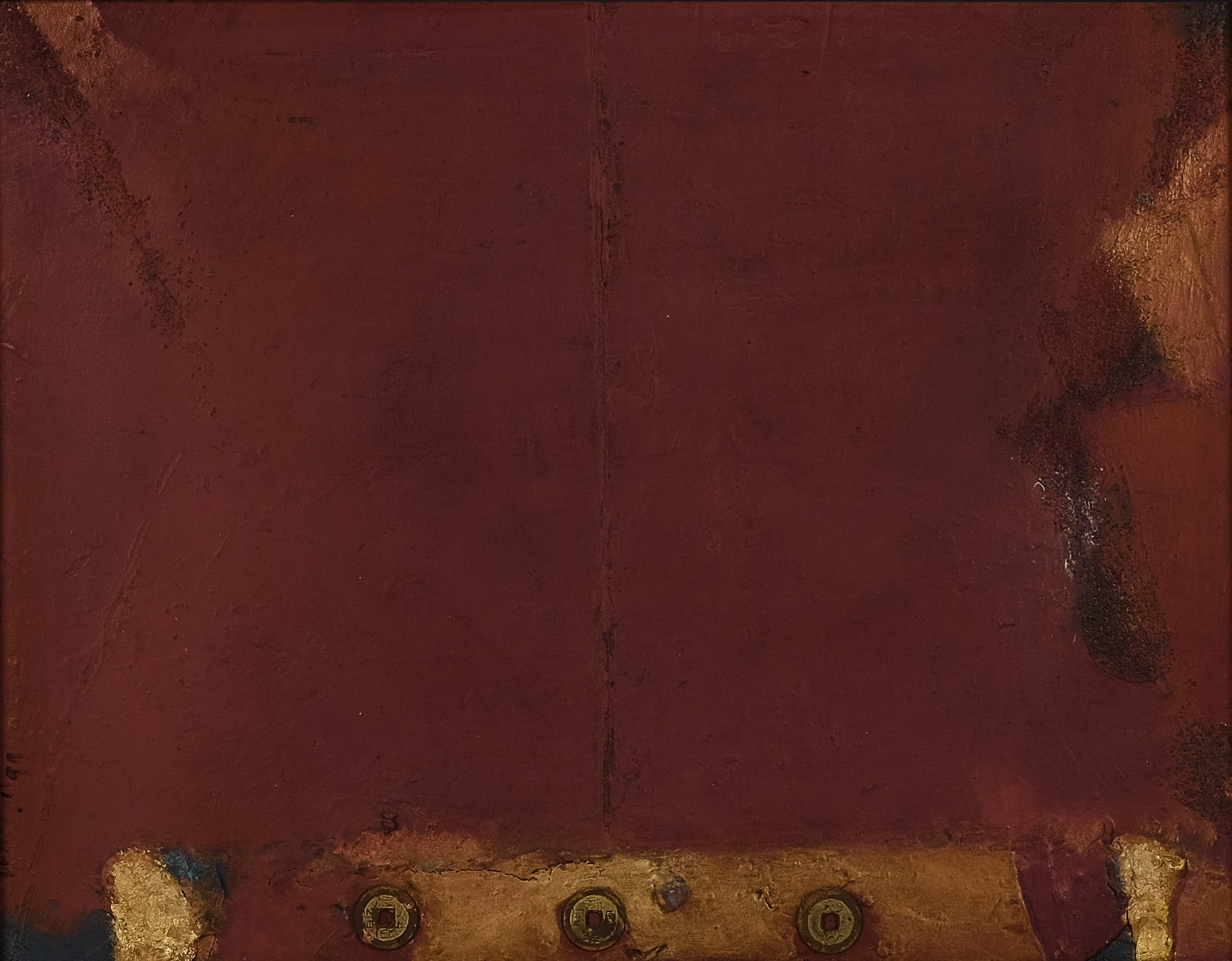 Umi Dachlan, 'Terracotta and Three Coins', mixed media on canvas, 35 x 45cm, 1999. Image courtesy of Art Agenda, S.E.A.