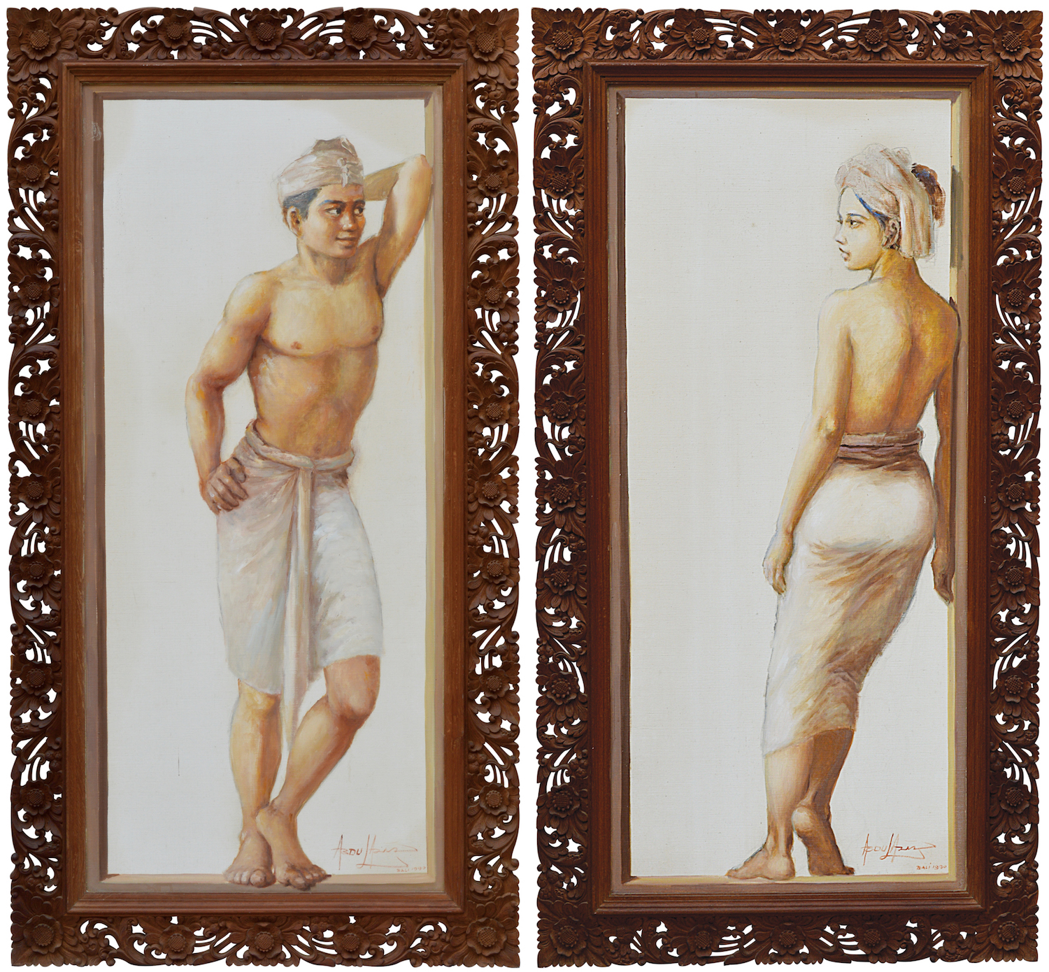 Abdul Aziz, 'Magnetic Attraction', oil on canvas, 143 x 65cm, 1990. Image courtesy of 33 Auction, Indonesia.