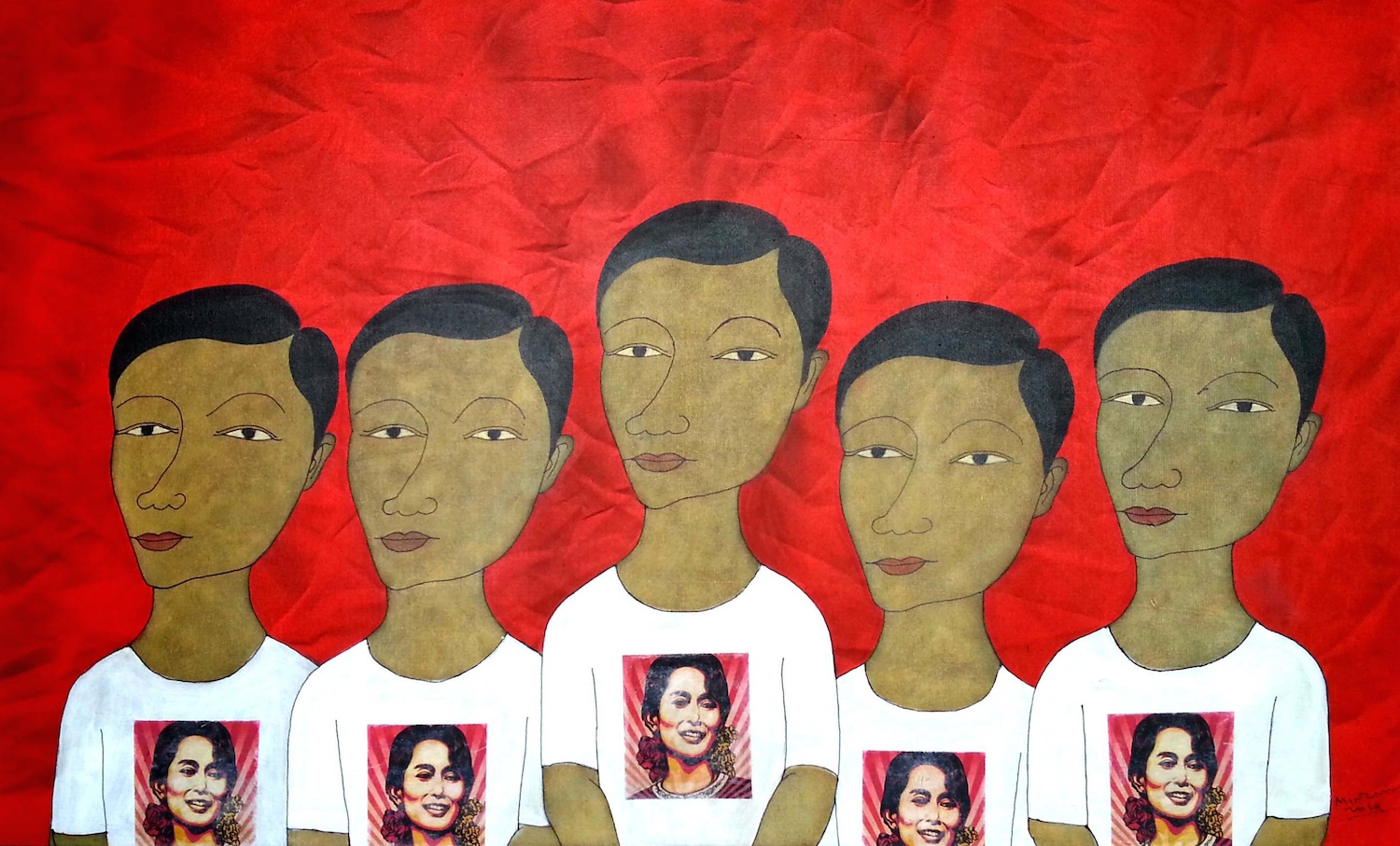 Min Zaw, 'The Loss of Identity', 2014, acrylic on canvas, 92 x 157cm. Image courtesy of Intersections Gallery.