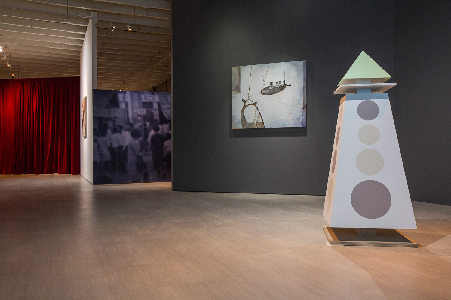 Hilmi Johandi, 'An Exposition' installation view, 2018, oil on canvas, three-channel video, digital print on vinyl sticker mounted on wood, synthetic polymer paint, plywood and mild steel, dimensions variable. Image courtesy of Singapore Art Museum.