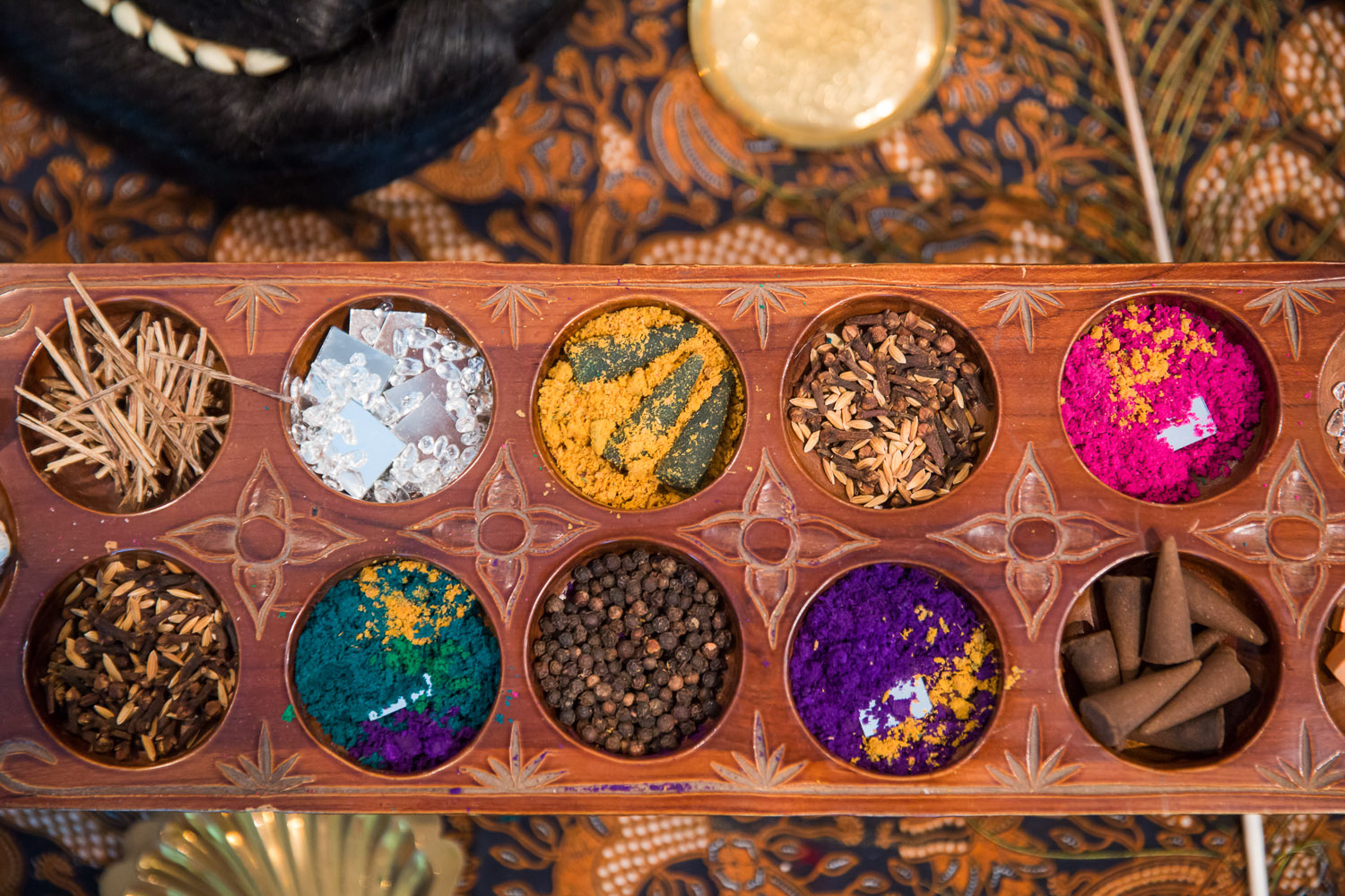 Zarina Muhammad, 'Pragmatic Prayers for the Kala at the Threshold' (detail), 2018, bamboo, sandalwood, clay, stone, turmeric powder, sandalwood powder, saffron, nine grains and spices, rose water, incense, glass jars and paper, dimensions variable. Image courtesy of Singapore Art Museum.