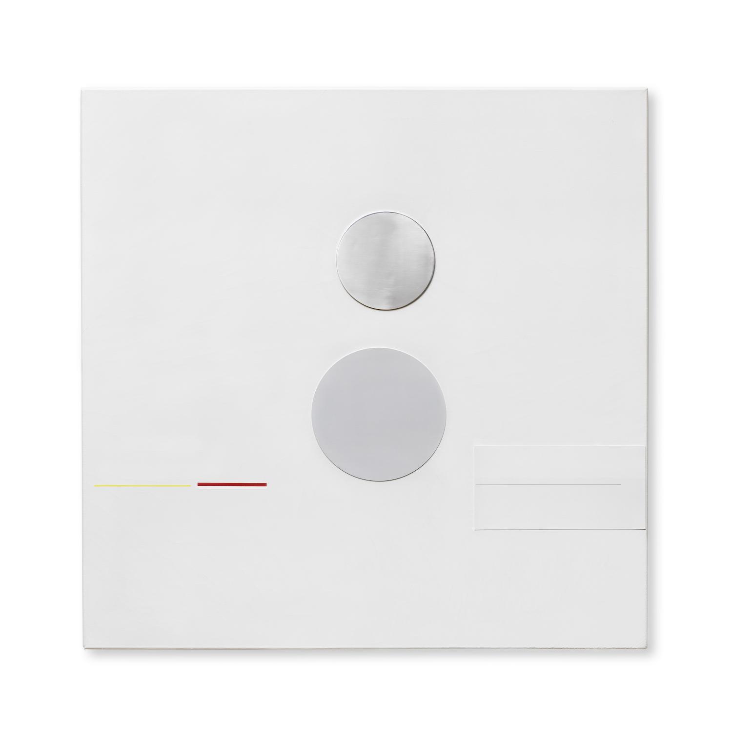 Richard Lin, 'Painting Relief', 1961, copper rectangle, aluminium disc, diagonal blackon the stretcheroil, aluminium and copper on canvas, 101.6 x 101.6cm. Image courtesy of Bonhams.