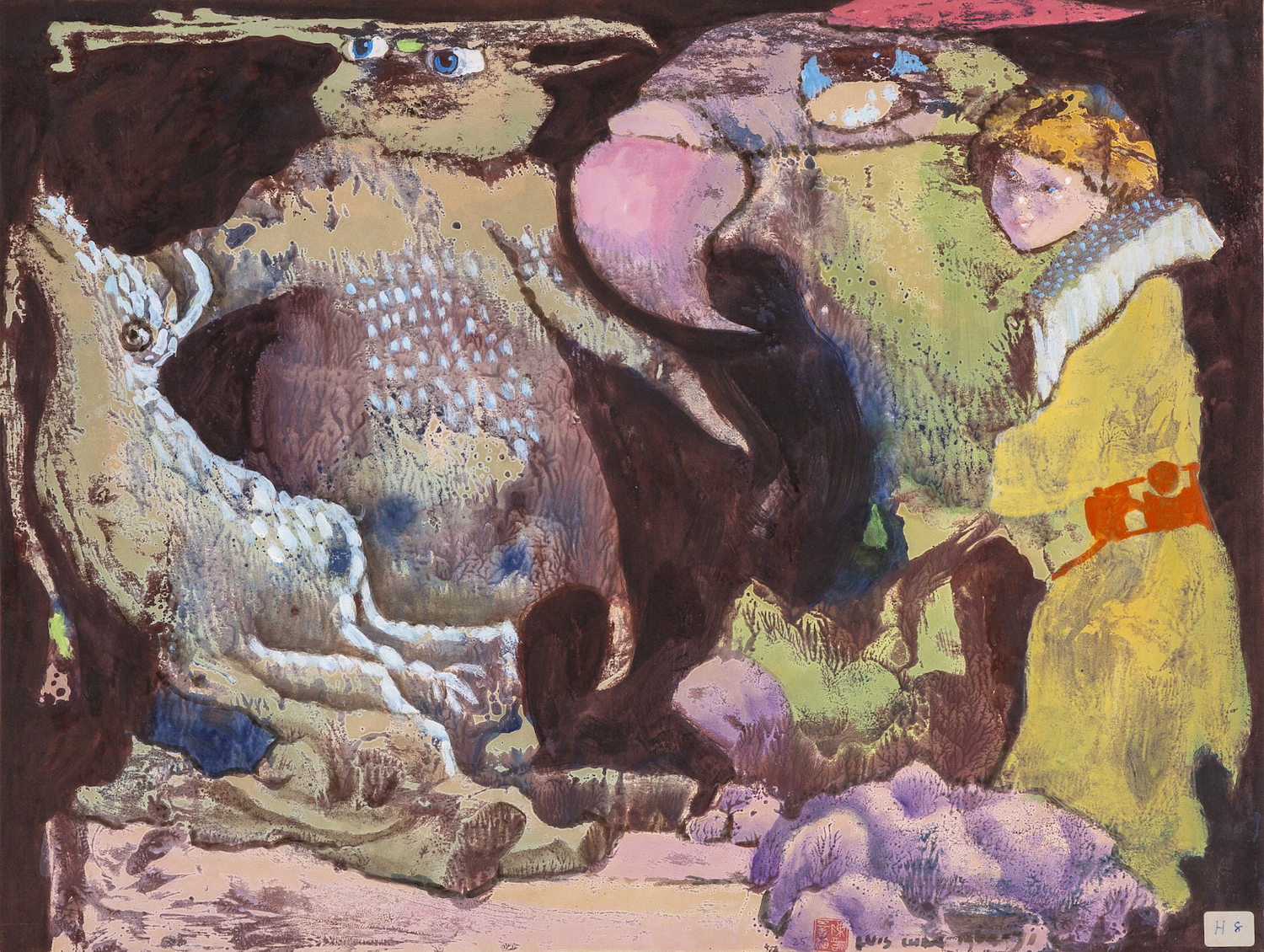 Luis Chan, 'Untitled (Goldenhaired Girl with Bird and Beasts), 1964-1971, acrylic on paper, 45 x 59 cm. Image courtesy Asia Art Archive.