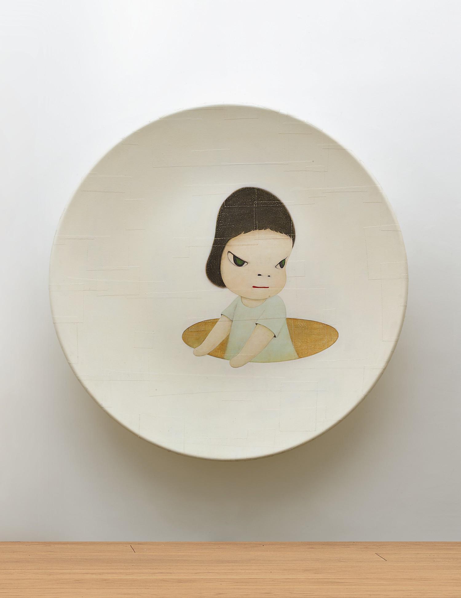 Yoshitomo Nara, 'Ready to Scout', 2001, acrylic on cotton mounted on FRP, 177.8 (diameter) x 25.4 cm. Image courtesy of Sotheby's HK.