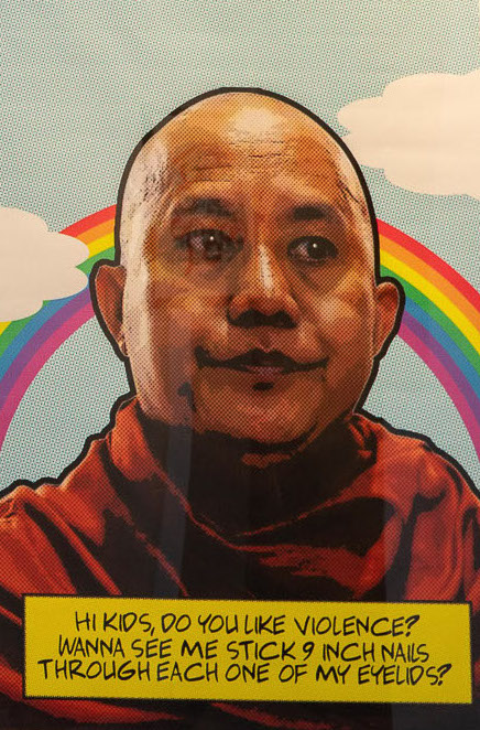 Bart Was Not Here, 'Wirathu', 2017, print on canvas, 3 x 2ft. Image courtesy of Intersections Gallery.