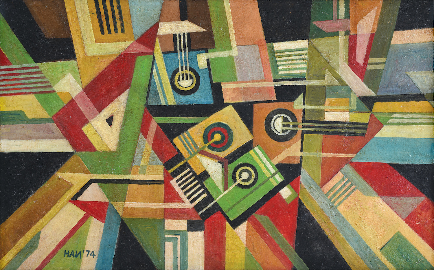 Handrio, 'Abstraction in Space', 1974, oil on canvas, 53 x 85cm. Image courtesy of Asia Art Center.