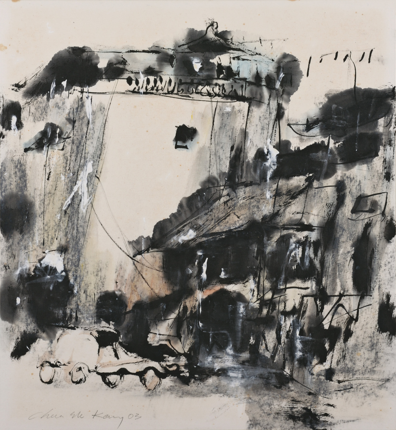 Chua Ek Kay, 'Old Shophouse on North Canal Road', 2003, ink and colour on paper, 45 x 45cm. Image courtesy of the Estate of Chua Ek Kay.