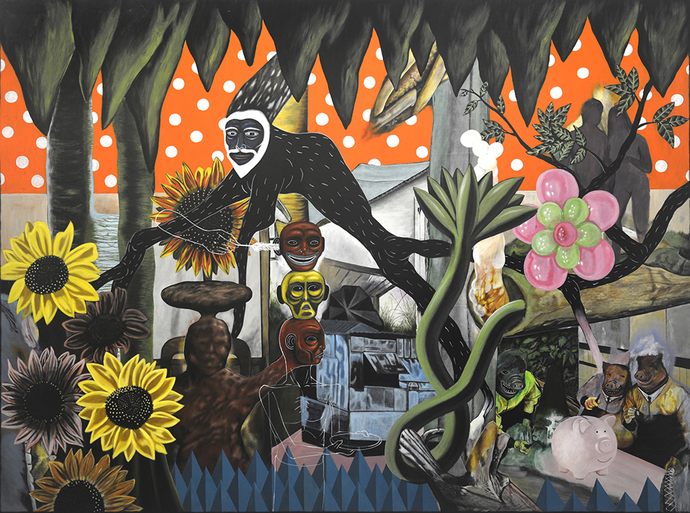 Rodel Tapaya, 'Abundance in Sunlight', 2018, acrylic on canvas, 182.8 x 243.8cm. Image courtesy of Tang Contemporary and Arndt Art Agency.