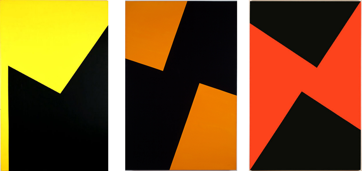 Carmen Herrera, 'Thursday', 'Friday' and 'Sunday' from the 'Days of the Week' series, 1975–1978, acrylic on canvas. Image courtesy of the artist and Lisson Gallery.