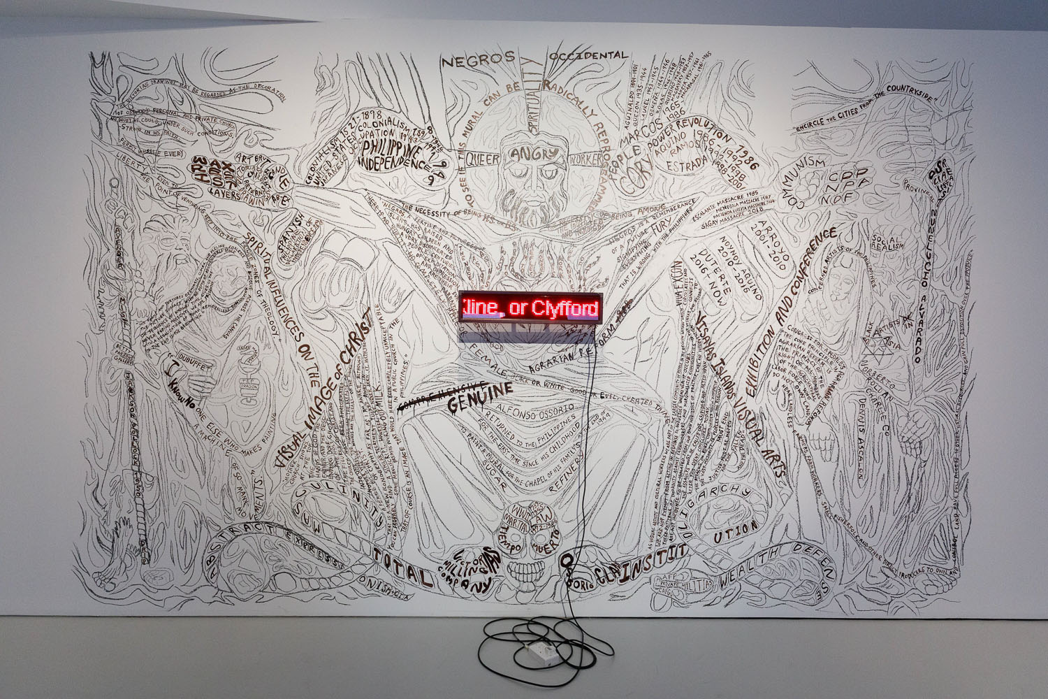Amy Lien and Enzo Camacho, mural for 'And in the Chapel and in the Temples', installation view. Image courtesy of NTU CCA Singapore.