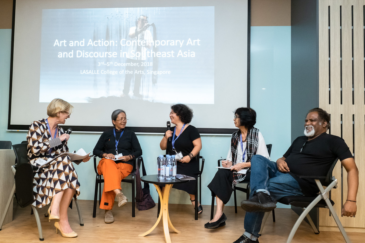 Artists Panel at 'Art and Action: Contemporary Art and Discourse in Southeast Asia'. From left to right: Sally J. Clarke, Curator and Arts Writer; Founder, Asian Arts Advisory (Singapore); Arahmaiani (Indonesia); Yee I-Lann (Malaysia); Imelda Cajipe Endaya (Philippines); and S. Chandrasekaran (Singapore). Image courtesy of LASALLE College of the Arts (photo by Ken Cheong).