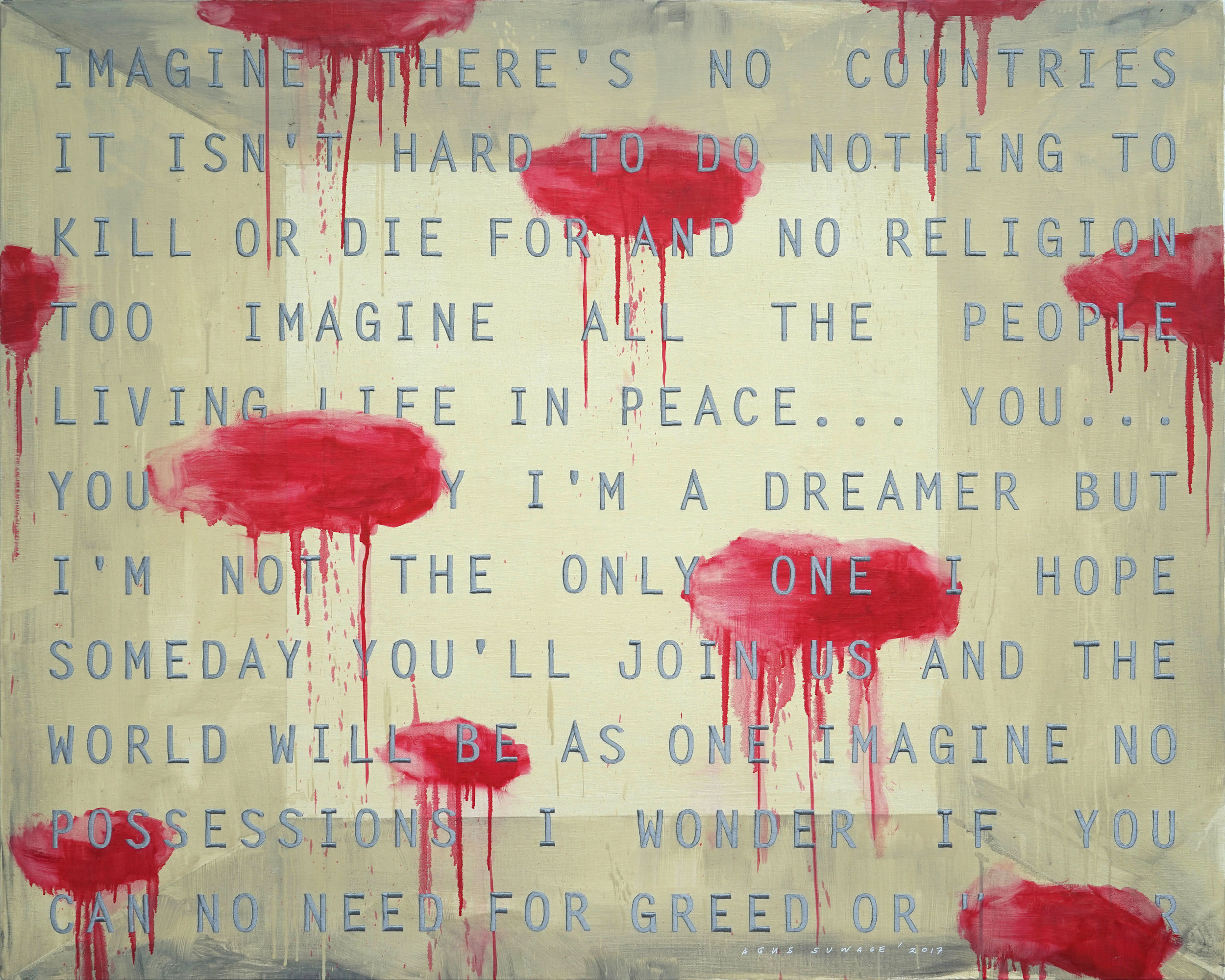 Agus Suwage, 'Imagine #3', 2017, acrylic and embroidery on canvas, 120 x 150cm. Image courtesy of the artist and Nadi Gallery.