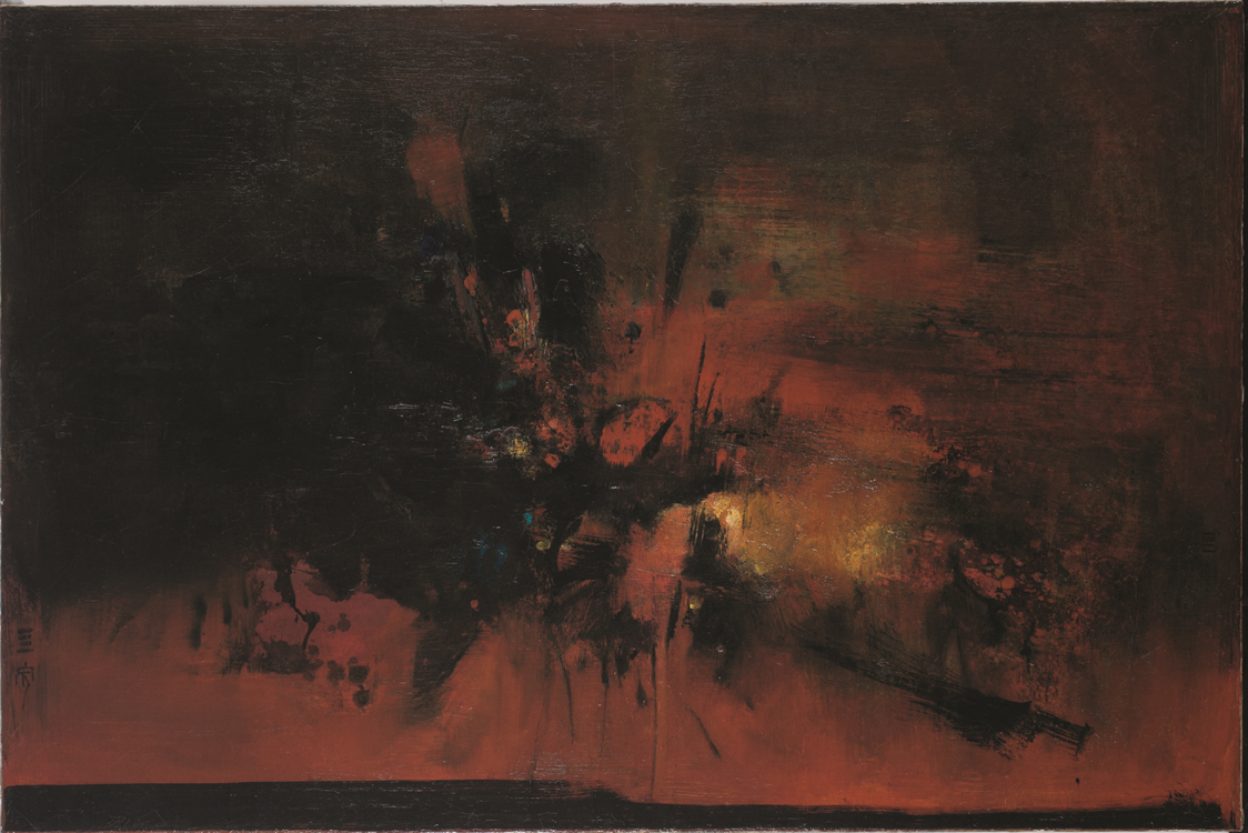 Cheong Soo Pieng, 'Landscape No. 3', 1965, oil on canvas, 71.5 x 107cm. Image courtesy of the artist and artcommune gallery.