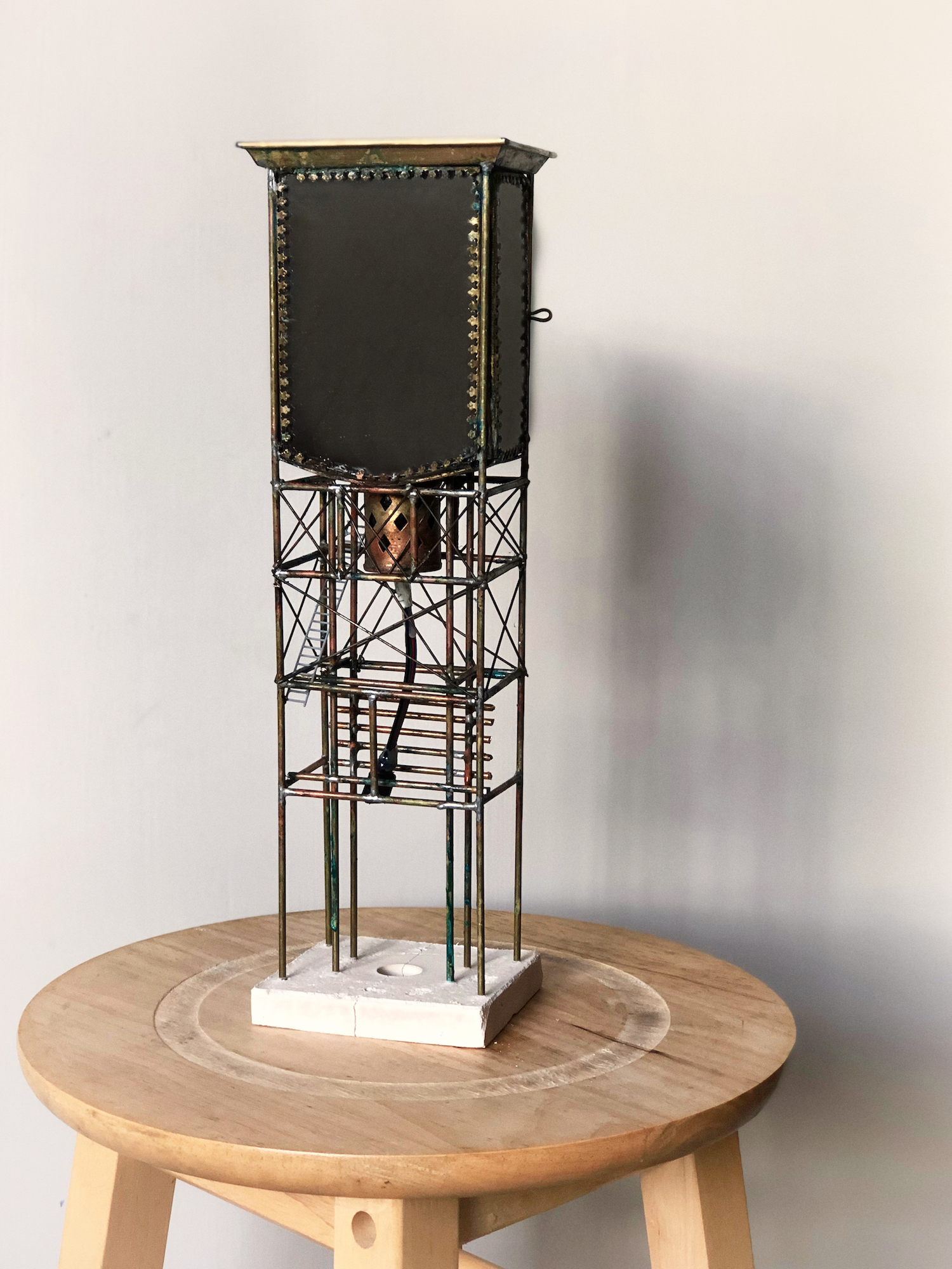 Rajinder Singh, 'There's a lady who's sure All that glitters is gold And she's buying a stairway to heaven', 2018, A metal and light sculpture using a vintage reconditioned Christian miniature shrine, two-way mirrors, brass rods and LED strip electronics, 35cm x 9cm x 6cm. Image courtesy of Wei-Ling Contemporary.