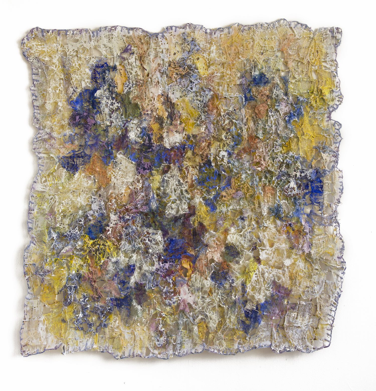 Nandita Mukand, 'Uncontained', 2018, cloth, wool, thread, acrylic, resin, hot glue, sand, 95 x 95 x 4cm. Image courtesy of the artist.