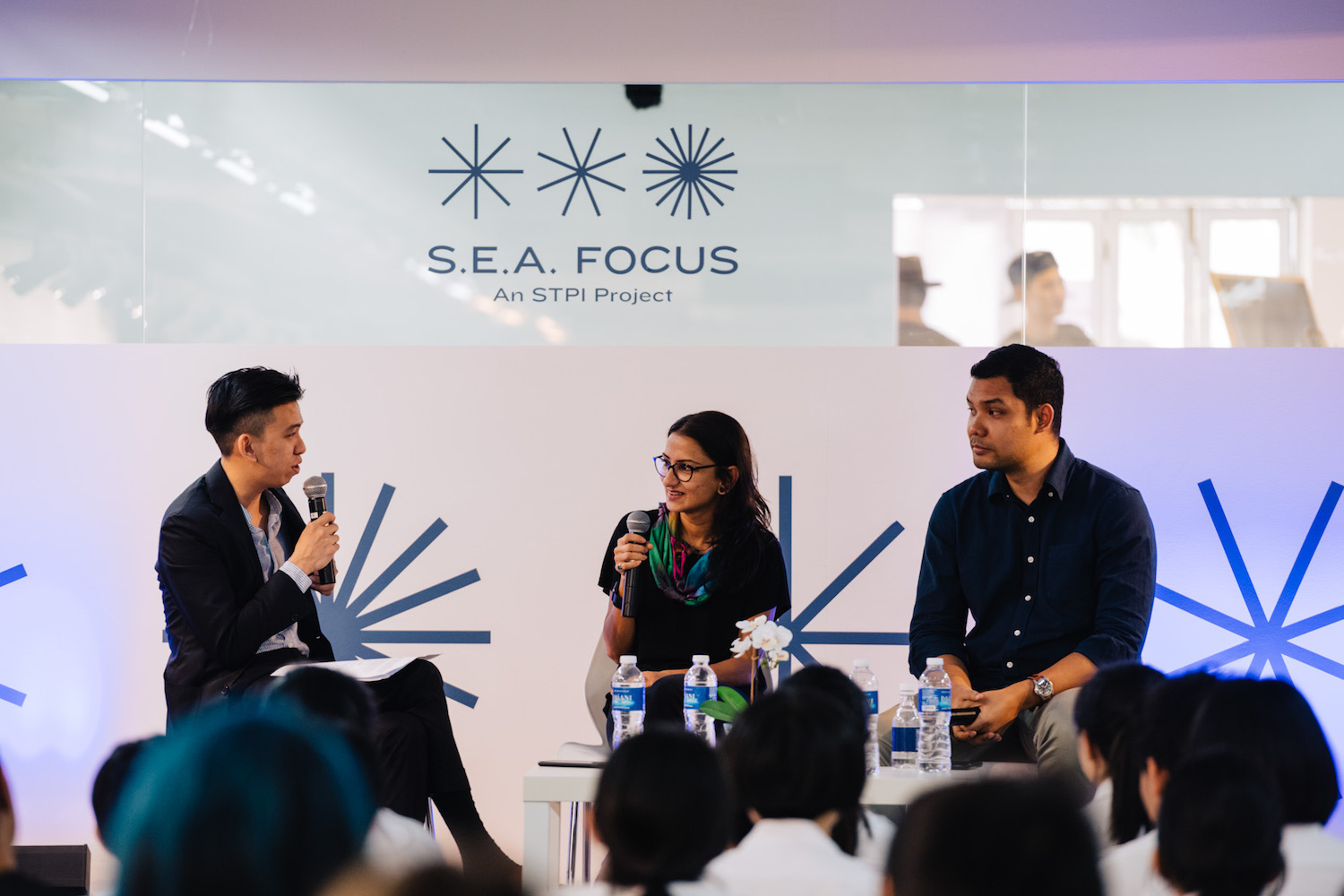 """Gabriel Loy, Dipali Gupta and Khairulddin Bin Abdul Wahab speaking on """"Art-Making in Singapore: Opportunities and Challenges"""". Image courtesy of S.E.A. Focus."""