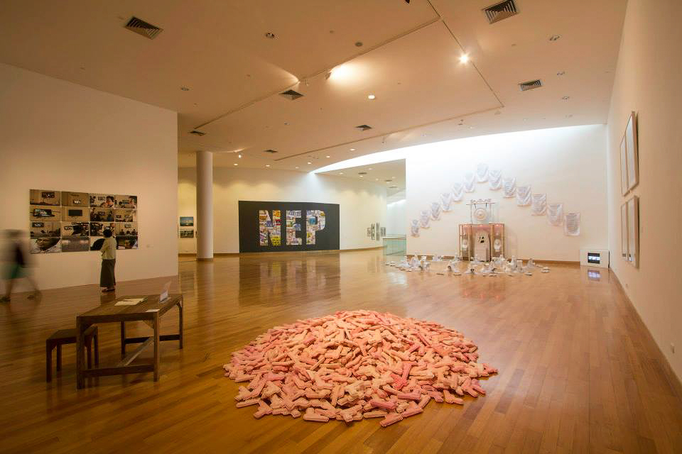 An installation view of 'Concept. Context. Contestation: Art and the collective in Southeast Asia' at Bangkok Art & Culture Centre in 2013. Image courtesy of Jakarin Tewtao and Bangkok Art & Culture Centre.