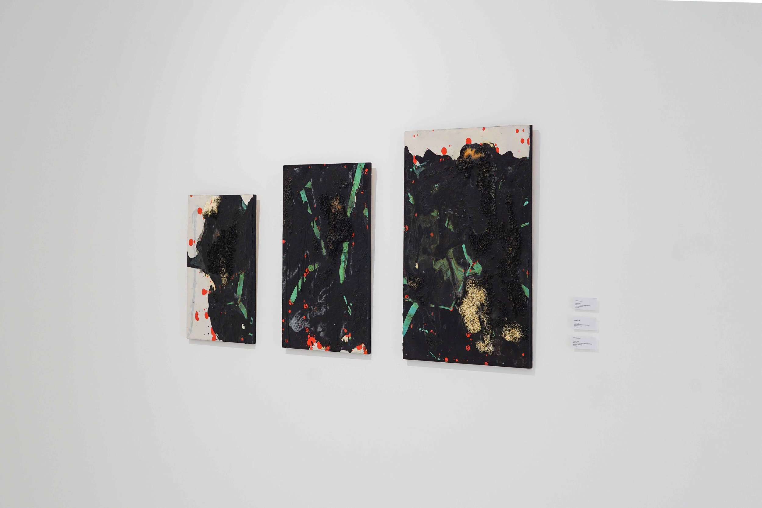 Jay Ho, 'Orion III, II and I' (from left), 2018, resin and gloss paint on canvas panel, dimensions variable. Image courtesy of the artist.
