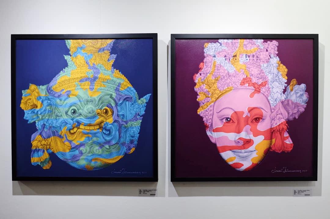 "Jirapat Tasanasomboom, 'Camouflage - Tosakan & Sita (After A. Warhol)', 2017, acrylic on canvas, 63 x 63"". Image courtesy of La Lanta Fine Art."