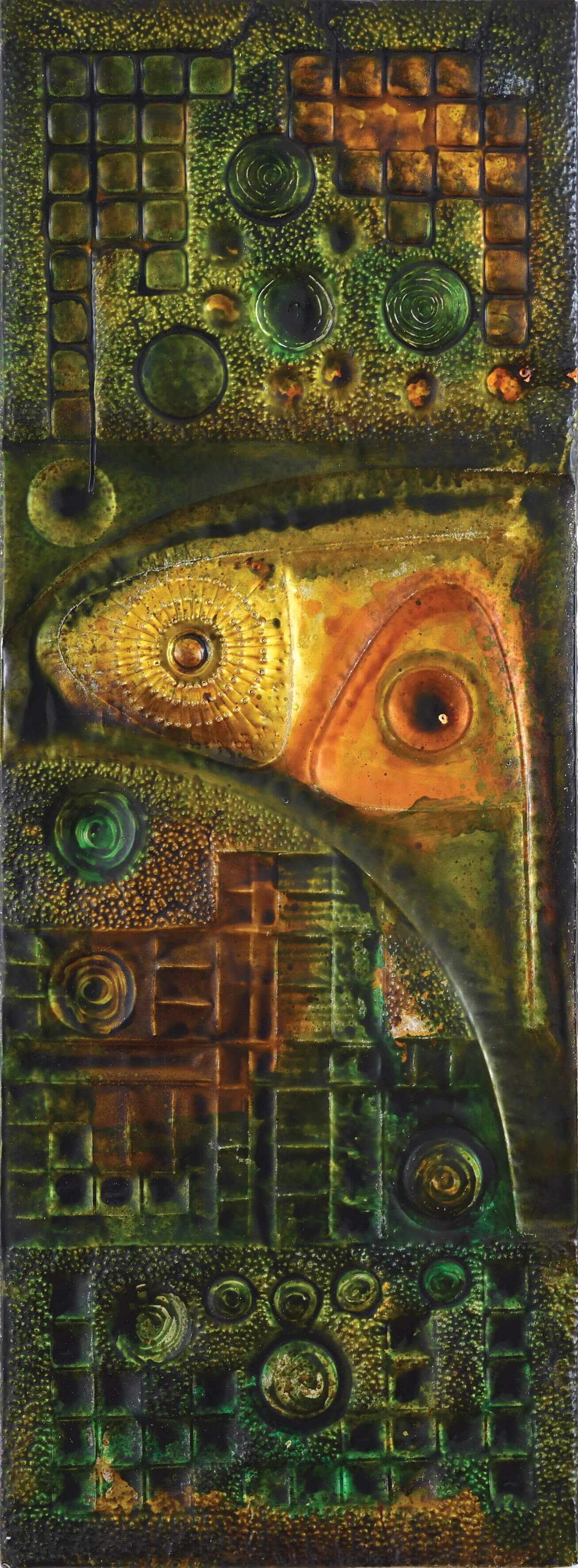 Vincent Hoisington (Singaporean, 1924-1972), 'Passacaglia', 1972, enamel paint, repoussé aluminium over wood panel, 151 x 55.5 x 3.5cm. Image courtesy of Bonhams.