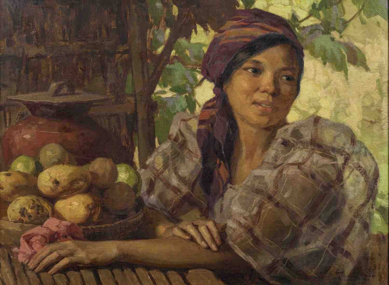 Fernando Amorsolo (Filipino, 1892-1972), 'Maiden with Fruits', 1930, oil on canvas, 48 x 66cm. Image courtesy of Bonhams.