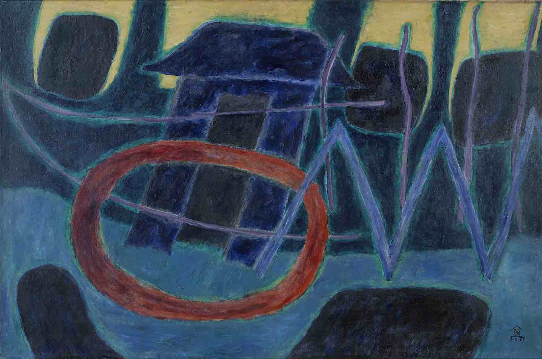 Nashar (Indonesian, 1928-1994), 'Spirits of Sanur', 1977, oil on canvas, 90 x 140cm. Image courtesy of Bonhams.