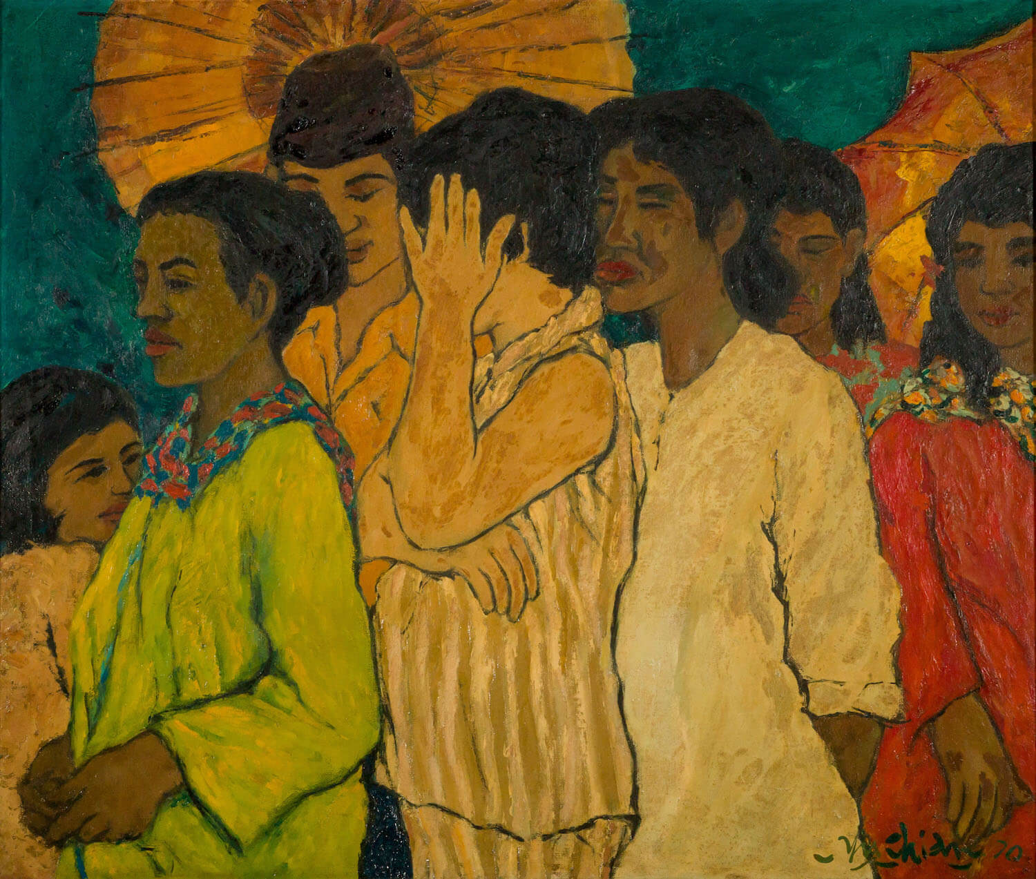Chia Yu Chian, 'Queue Up', 1970, oil on board, 56 x 65cm. Image courtesy of ILHAM Gallery.