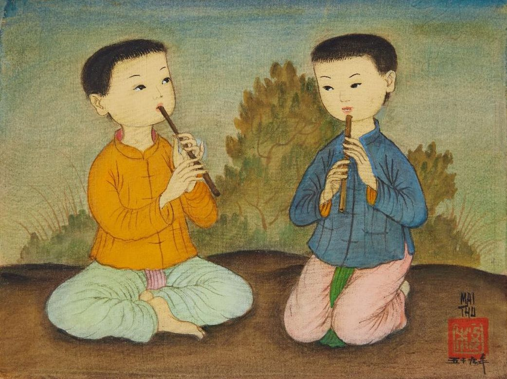 Mai Trung Thu, 'Two Boys Playing the Flute', 1959, colour on silk laid down on cardboard, 17 x 23cm. Image courtesy of Phillips.