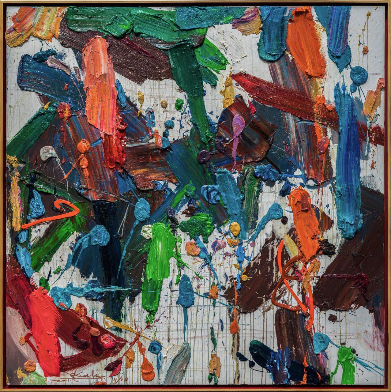 Erizal As, 'Kimposisi Kata', 2018, oil on canvas, 180 x 180cm. Image courtesy of Gajah Gallery.